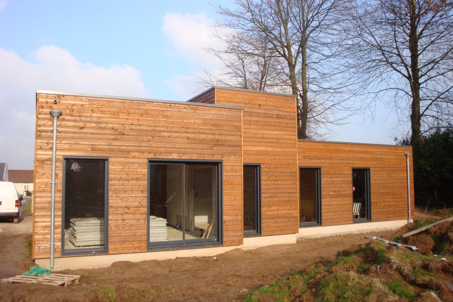 Maison bois plain pied luneray 76810 djsl bois for Maison en bois construction
