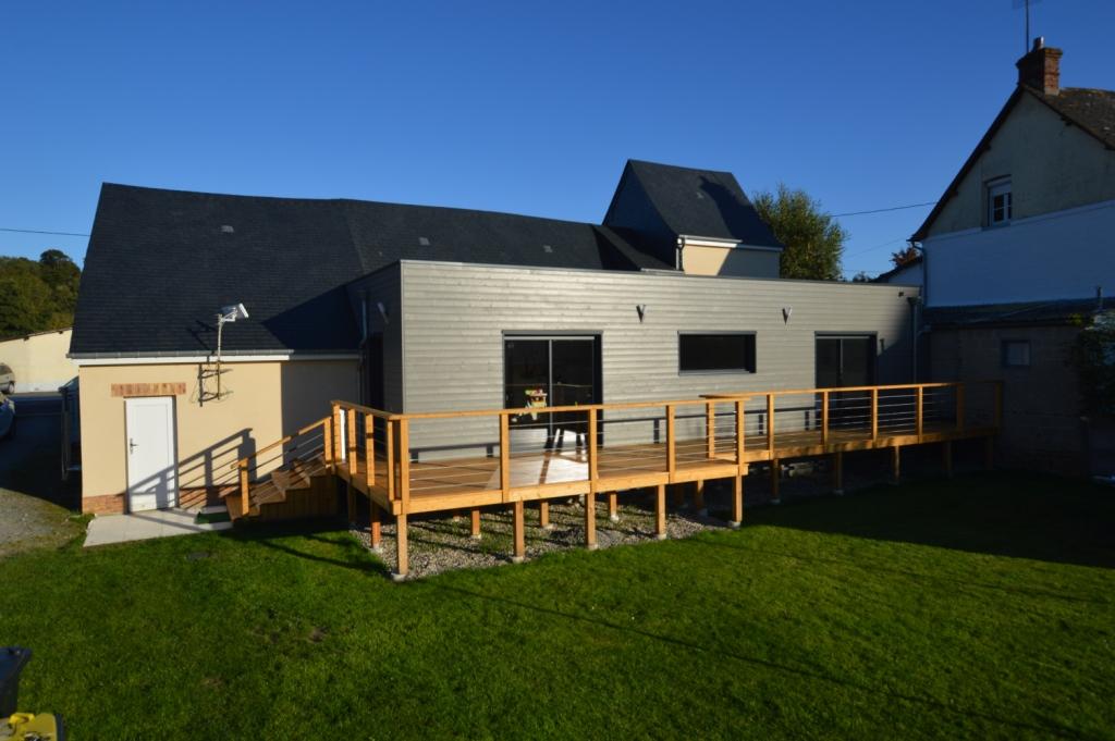 terrasse bois en m l ze sur pilotis avec garde corps bois inox djsl bois. Black Bedroom Furniture Sets. Home Design Ideas